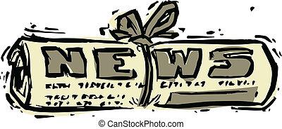 parola, rotolato, titolo, giornale, notizie