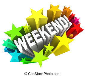parola, rottura, domenica, stelle, eccitante, fine settimana, sabato