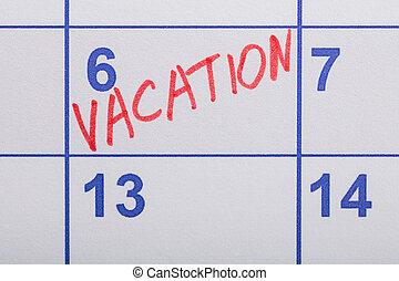 parola scritta, vacanza, calendario