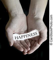 parola, segno, carta, tenere mani, felicità
