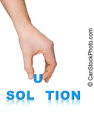 parola, soluzione, mano