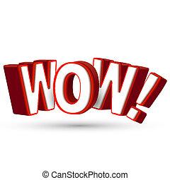 parola, sorprendente, mostra, grande, wow, 3d, qualcosa, lettere, sorpresa, strabiliante, impressionante, rosso, sorpresa
