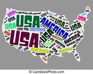 parola, stati, america, vettore, unito, illustrazione, mappa, nuvola