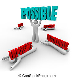 parola, successo, vincitore, possibile, vs, impossibile, ascensori, uomo