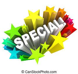 parola, vendita, risparmi, stelle, unico, evento, speciale