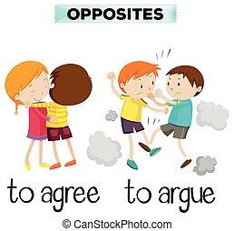 parole, opposto, essere d'accordo, arguire