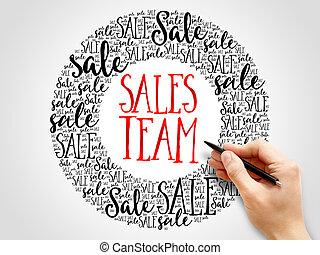 parole, vendite, nuvola, squadra