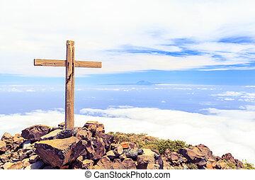 parte superiore montagna, cristiano, croce