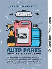 parti, auto, vettore, fluids., olii