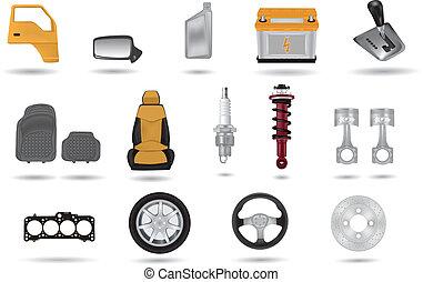 parti, automobile, dettagliato, illustrazioni