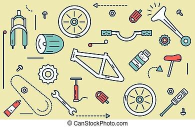 parti, illustration., bicicletta