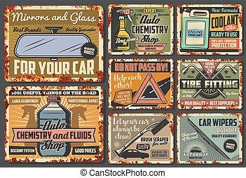 parti, risparmiare, accessori, automobile, veicolo, vettore, arrugginito