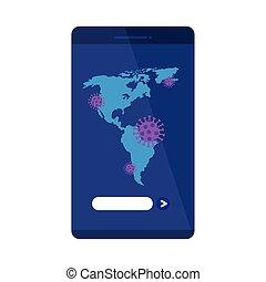 particelle, covid19, smartphone, americano, continente