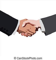 partnership., vettore, illustration., schizzo, handshake.