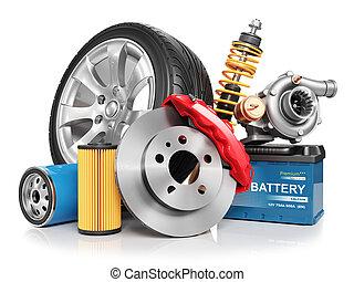 parts., automobile, set, render, 3d
