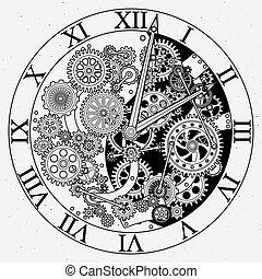 parts., meccanismo, vettore, orologio, cogwheels., illustrazioni, orologio