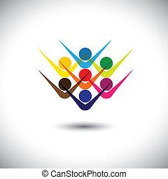 partying, concetto, rappresentare, astratto, &, persone, anche, eccitato, lattina, colorito, gioco, illustrazione, grafico, children., animato, bambini, personale, questo, personale, ecc, vettore, amici, felice, o