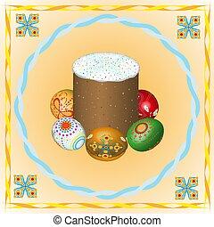 pasqua, colorato, cristiano, uova, vacanza, immagine, dedicato, vettore, torta, stilizzato