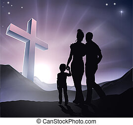 pasqua, cristiano, croce, famiglia