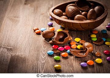 pasqua, fondo, cioccolato