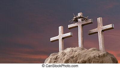 pasqua, risen., inscription., tramonto, concept., legno, cristiano, gesù, cielo, text., lui, spazio, resurrection., fondo, croce, cristo, copia