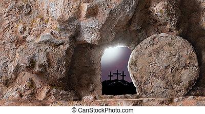 pasqua, risen., inscription., tramonto, concept., legno, gesù, cielo, lui, spazio, resurrection., fondo, croce, cristo, copia