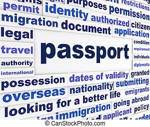passaporto, concetto, legale, parole