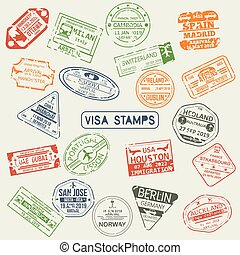 passaporto, francobolli, set, isolato, visto