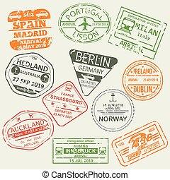 passaporto, set, isolato, visto, stamps.