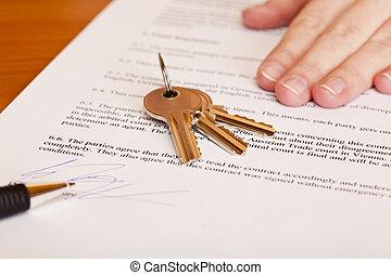 passare, chiavi, casa, sopra, secondo, firmando contratto, vendita