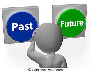 passato, mostra, bottoni, futuro, tempo, progresso, o