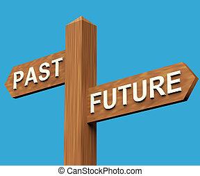 passato, signpost, futuro, indicazione, o