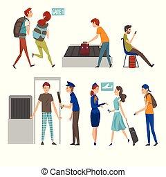 passeggeri, scanner, volo, persone, set, aeroporto, correndo, illustrazione, loro, attesa, vettore, attraverso, iscrizione, presa, passeggero, sicurezza, zaini, assegno
