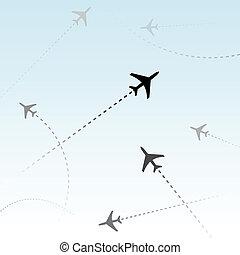 passeggero, commerciale, aeroplani, aria, voli, traffico, linea aerea