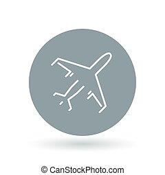 passeggero, illustration., segno., volare, commerciale, simbolo., aereo, aereo, vettore, aeroplano, icon.