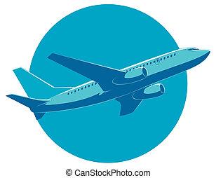 passeggero, vista., aereo, volo, fondo