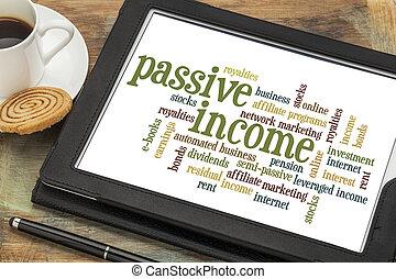 passivo, reddito, parola, nuvola
