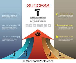 passo, opzioni, su, successo, freccia