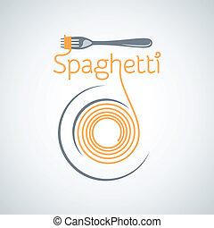 pasta, fondo, forchetta, spaghetti, piastra