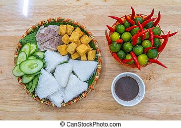 pasta, hanoi, tofu, tagliatelle, gambero fritto, famoso, vietnam, cucina