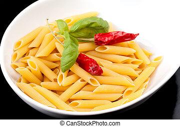 pasta, italiano, -, penne