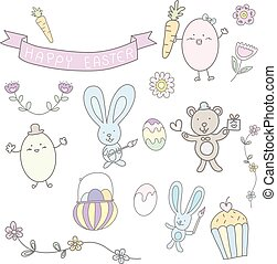 pastello, carino, mano, disegnato, pasqua, felice