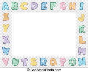 pastello, cornice, puntino polka, alfabeto