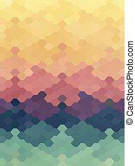 pastello, jigsaw, colorare, astratto, carta da parati, esagono, puzzle