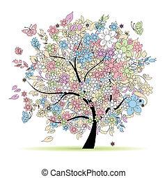 pastello, primavera, albero, tuo, colori, disegno floreale