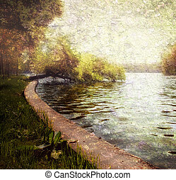 pastello, sereno, natura, -, lago, albero