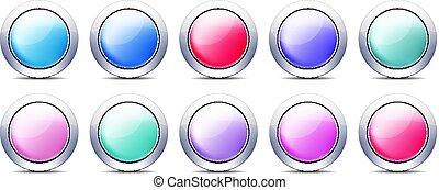 pastello, set, bottoni, colorare, metallo, bordo, icona