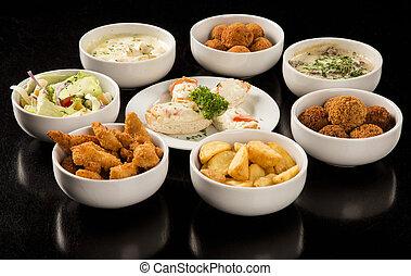 pasticcerie, insalate, spuntini, minestre, kibe, frigge, pollo, includere, brasiliano, mescolato, fritto
