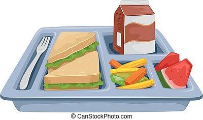 pasto, dieta, vassoio, pranzo
