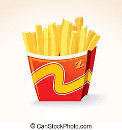 patata, cibo, frigge, digiuno, vettore, francese, bucket., icon.